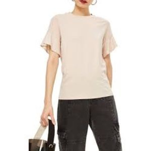 New [ Topshop ] Cream sheer sleeve Modal t-shirt